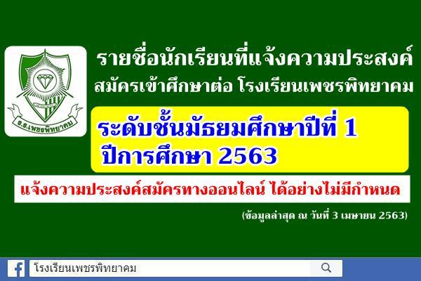 รายชื่อนักเรียนที่แจ้งความประสงค์สมัครเข้าศึกษาต่อระดับชั้นมัธยมศึกษาปีที่ 1 ปีการศึกษา 2563 (ข้อมูล ณ วันที่ 3 เมษายน 2563)