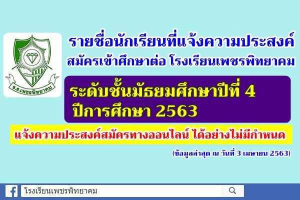 รายชื่อนักเรียนที่แจ้งความประสงค์สมัครเข้าศึกษาต่อระดับชั้นมัธยมศึกษาปีที่ 4 ปีการศึกษา 2563 (ข้อมูล ณ วันที่ 3 เมษายน 2563)