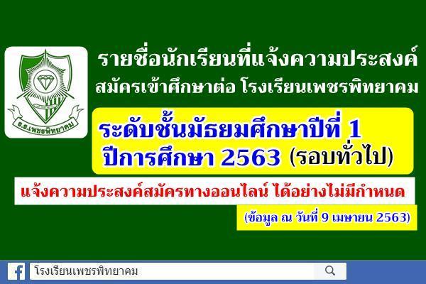 รายชื่อนักเรียนที่แจ้งความประสงค์สมัครเข้าศึกษาต่อระดับมัธยมศึกษาปีที่ 1 (รอบทั่วไป) ปีการศึกษา 2563 (ณ วันที่ 9 เมษายน 2563)