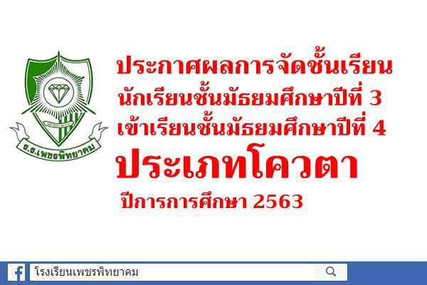 ประกาศผลการจัดชั้นนักเรียนชั้นมัธยมศึกษาปีที่ 3 เข้าเรียนชั้นมัธยมศึกษาปีที่ 4 ประเภทโควตา ปีการการศึกษา 2563