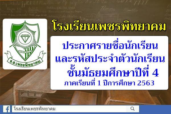 ประกาศรายชื่อนักเรียนและรหัสประจำตัวนักเรียนชั้นม.4 ภาคเรียนที่ 1 ปีการศึกษา 2563
