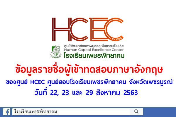 ข้อมูลการทดสอบภาษาอังกฤษของศูนย์ HCEC ศูนย์สอบโรงเรียนเพชรพิทยาคม จังหวัดเพชรบูรณ์ วันที่ 22, 23 และ 29 สิงหาคม 2563