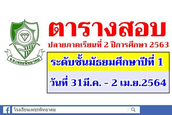 ตารางสอบปลายภาคเรียนที่ 2 ปีการศึกษา 2563 ระดับชั้นมัธยมศึกษาปีที่ 1