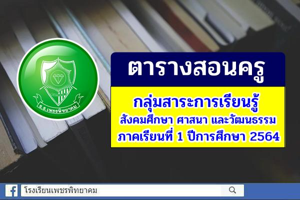 ตารางสอนครู กลุ่มสาระการเรียนรู้สังคมศึกษา ศาสนา และวัฒนธรรม ภาคเรียนที่ 1 ปีการศึกษา 2564