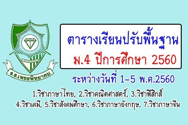 ตารางเรียนปรับพื้นฐาน ม.4 ปีการศึกษา 2560 ระหว่างวันที่ 1-5 พ.ค.2560