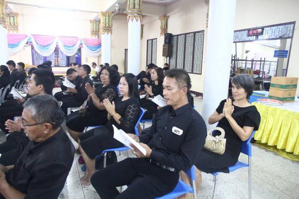คณะครูร่วมพิธีเจริญพระพุทธมนต์ถวายเป็นพระราชกุศล ณ วัดมหาธาตุ (พระอารามหลวง)