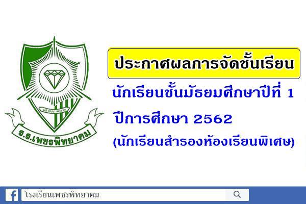 ประกาศผลการจัดชั้นเรียน ม.1 ปี 2562 (นักเรียนสำรองห้องเรียนพิเศษ)