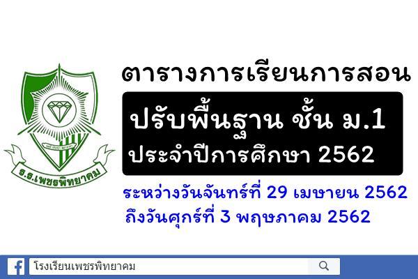 การจัดการเรียนการสอนปรับพื้นฐานนักเรียนชั้นมัธยมศึกษาปีที่ 1 ประจำปีการศึกษา 2562 ระหว่างวันที่ 29 เมษายน - 3 พฤษภาคม 2562